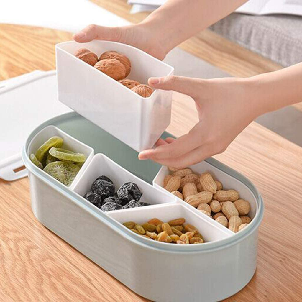 Quaanti Creative Candy and Nut Serving Container, Appetizer Tray with Lid, 5 Compartment Plastic Food Storage Lunch Organizer, Divided Snack Plate, Dish Platter Fruit Plate (Blue) : Home & Kitchen