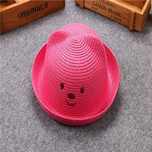mlpnko Sombrero para nios Sombrero de Paja de Dibujos Animados Lindo Gorro para Lavabo Sombrero para nios y nias Rosa Rojo (48-54cm)