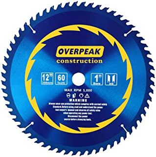 Overpeak 12-Inch Circular Saw Blades, 60 Tooth ATB Thin Kerf Combination Saw Blades with..