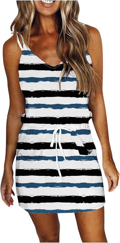TingM Women's Outdoor Recreation Dresses Chambray Dress Stripes Dots Slim Irregular Spaghetti Dress with Pocket