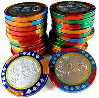 Milk Chocolate Foil Wrapped Casino Chips- Come in in $25, $50, $100, $250 Stamped Foil Wrappers - Bulk Bag (2-LB)