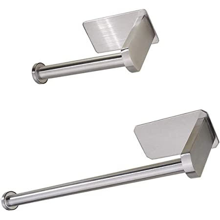 YuuHeeER Lot de 2 porte-papier toilette en acier inoxydable auto-adhésif sans perçage Argenté