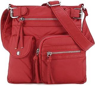 Angel Kiss Umhängetasche mit mehreren Taschen für Frauen, ultraweiche, gewaschene Umhängetasche aus veganem Leder (3296L#6...