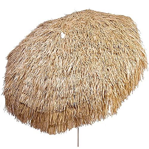 Ombrellone Palapa Tiki Patio Pole,Ombrellone da Spiaggia Tropicale in Paglia Hawaiana Regolabile in Altezza,Balcone Esterno Inclinabile in Paglia per Patio Tiki Ombrello da Giardino