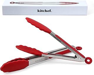 KITCHEF Pinces De Cuisine Professionnel En Inox Et Silicone Alimentaire Haute Température, Ustensiles Pour Cuisiner Sur Pl...