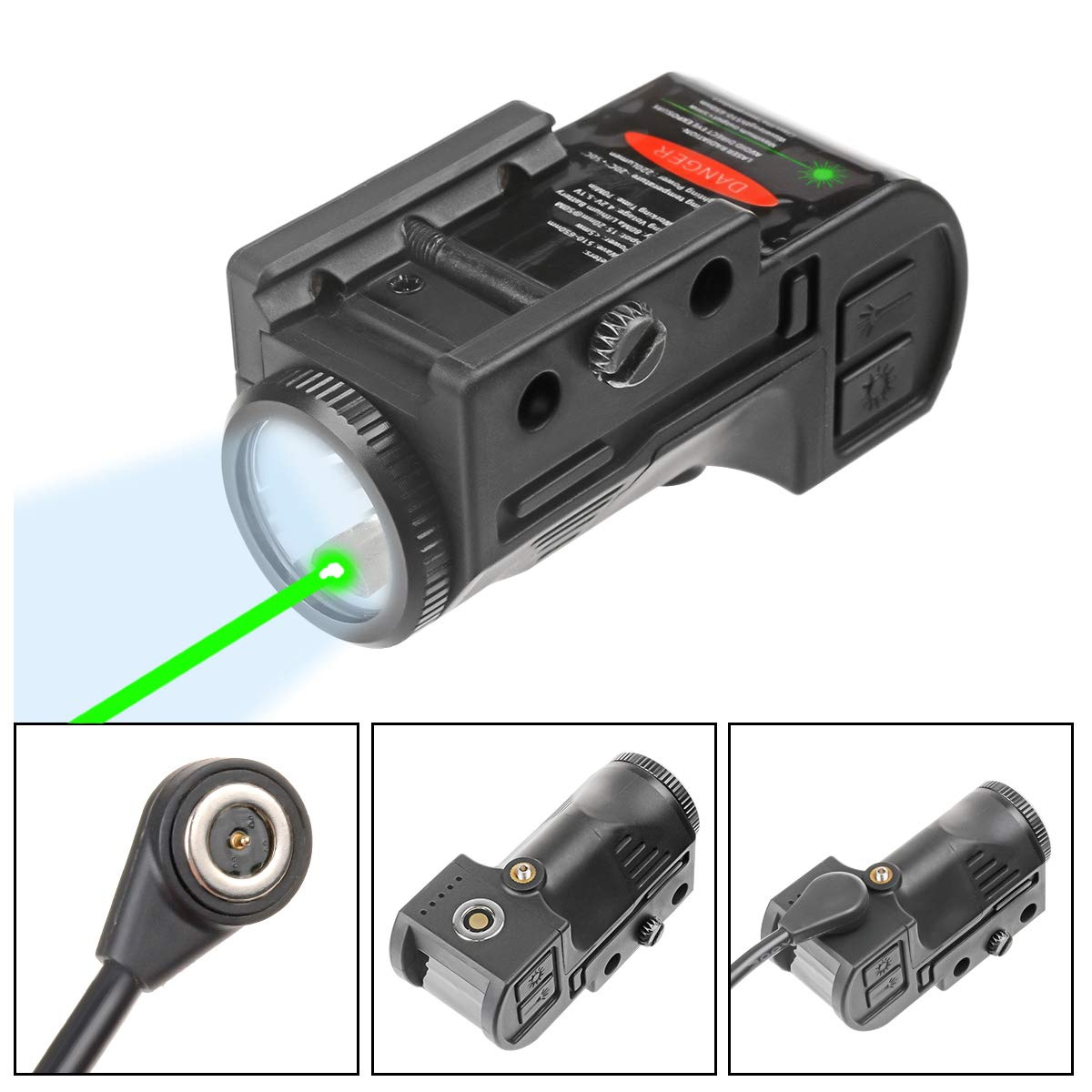 Lasercross Magnetic Flashlight Rechargeable Picatinny