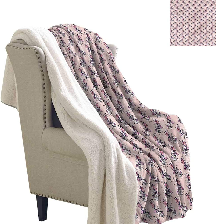 Beihai1Sun Spring Blanket Small Quilt Butterfly Vivid Bouquet 60x32 Inch