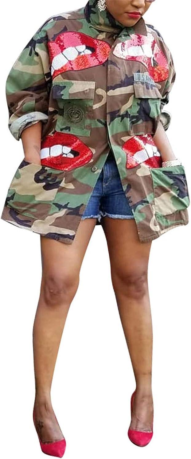 Women Fashion Plus Size Sequins Red Lips Camo Print Jackets Button Down Pockets Coat