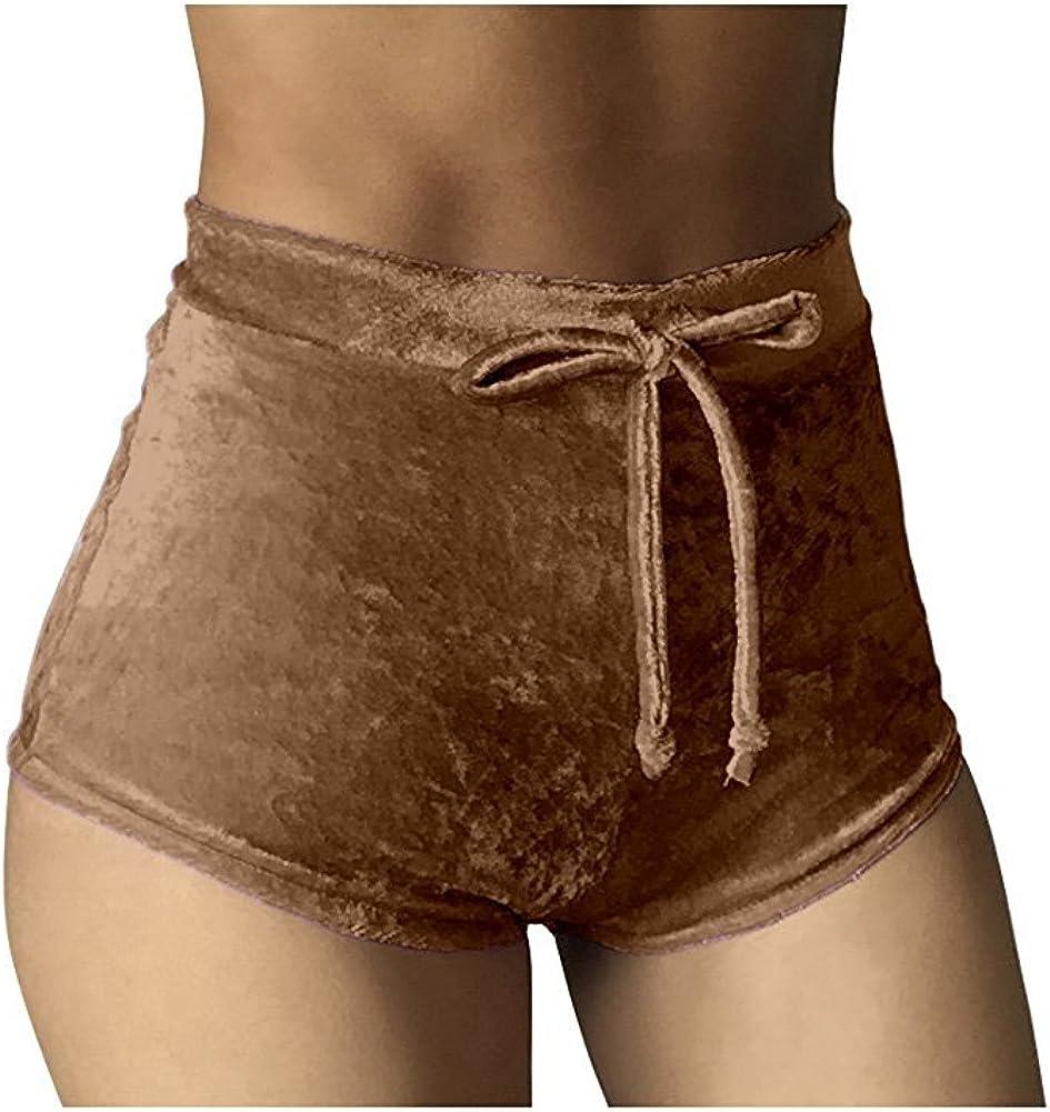 Women Hot Pants Bottoms Elastic Crushed Velvet Casual Shorts High Waist WL