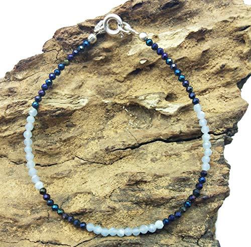 Lovekush Armband Edelsteine Schmuck 75% Rabatt, lose, regenbogenfarbene Pyrite, Opal Armband, versilbert, 2 mm, Rondelle & facettiert, 17,8 cm lang. BG68