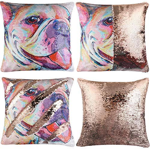 EVERMARKET Mermaid Throw Pillow Cover,Magic Reversible Sequin Pillow Case, Cute Pet Pattern Throw Cushion Pillow Case Decorative Pillow That Change Color 16'X16'inch,Frenchie Dog