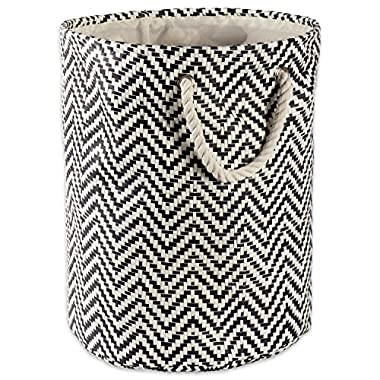 DII Woven Paper Basket or Bin, Collapsible & Convenient Organization & Storage Solution for Your Home (Large Round - 15x20) - Black Chevron