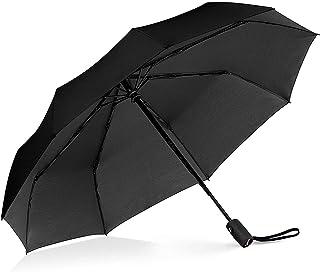 Windproof Travel Umbrella with Teflon Coating,Auto Open Close Lightweight Sun&Rain Umbrella with 10 Rib Construction, Zipper Pouch