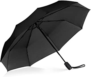 Windproof Travel Umbrella with Teflon Coating,Auto Open Close Lightweight Sun&Rain Umbrella with 10 Rib Construction, Zipper Pouch (Black)
