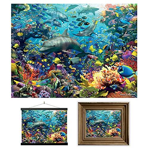 3D LiveLife Lenticular Cuadros Decoración - Delfín de Deluxebase. Poster 3D sin marco del océano. Obra de arte original con licencia del reconocido artista, David Penfound