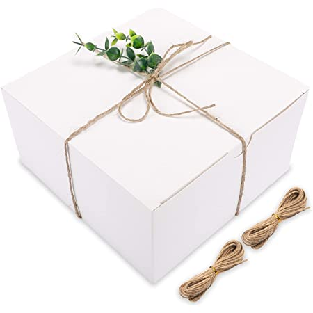 Moretoes White Gift Boxes 12 Pack 8x8x4 Inches, Paper Gift Boxes with Lids for Wedding Present, Bridesmaid Proposal Gift, Graduation, Holiday, Birthday Party Favor, Engagements and Christmas
