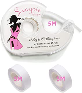 Fashion Tape, 3 rollen dubbelzijdig plakband voor het lichaam, push-up-tapes, borsttape, plakbeha met twee rollen en rolle...