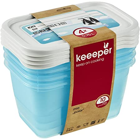 keeeper Food Containers, Set of 4, Freezable, Labelled Lid with Rewritable Surface, 4 x 750 ml, 15.5x10.5x8.5 cm, Mia Polar, Transparent Ice Blue