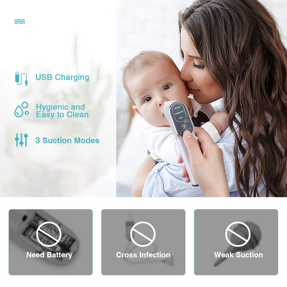 Rechargeable Nose Snot Sucker for Newborn and Toddler Electric Nasal Aspirator for Baby 3 Suction Levels Mucus Remover Infant Nose Aspirator with 4 Medical Silicone Tips