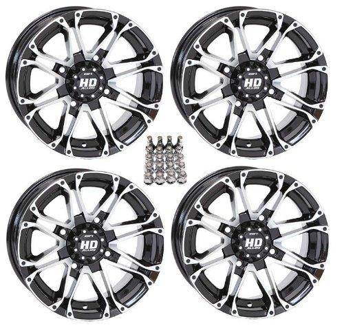"STI HD3 ATV Wheels/Rims Machined 12"" Honda Foreman Rancher SRA Solid Axle (4)"