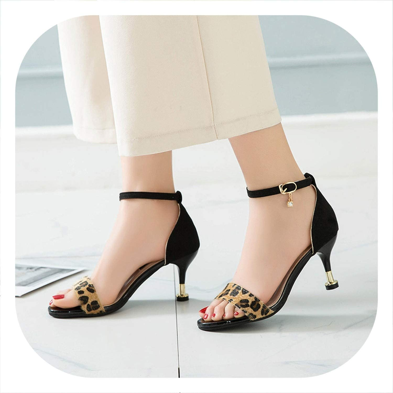 HANBINGPO Women Sandals Open Toe Summer shoes with 7CM High Heels Sandals Female Thin Heel shoes
