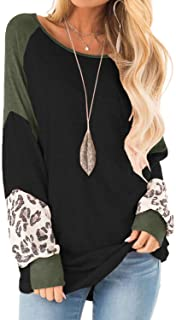 Yanekop Womens Color Block Pullover Leopard Print Sweatshirt Raglan Long Sleeve Loose Tunic Shirts Tops