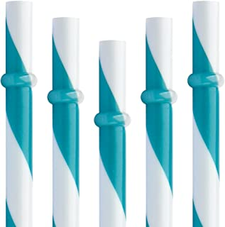 Dakoufish 12 Piece 9 Inch Reusable Plastic Thick Drinking Straws BPA Free Mason Jar Straws Big Stripe 10 Colors (teal) by Dakoufish