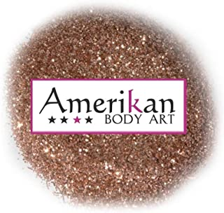 """Amerikan Body Art Biodegradable Glitter - Copper Rose (.008"""" Hex), Cosmetic Glitter for face, body and hair - 1 oz bag"""