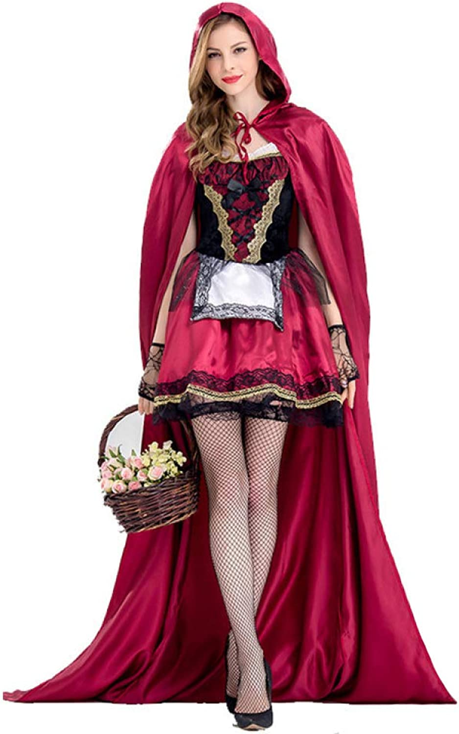 CVCCV Halloween Little Red Riding Hood Costume Nightclub Queen Costume Adult Cosplay Party Dress Polyester Fabric (Purple Red)