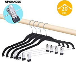 Premium Pants Hangers 20 Pack Non-Slip Velvety Smooth Texture Black PVC Rubber Coated Clips Clothes Hangers With Heavy Duty 360 Swivel Hanger Hook-16.5inch Outfit Hanger Black