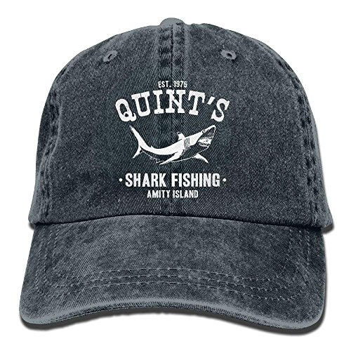 Adult Unisex Cotton Jeans Cap Old-Fashion Adjustable Hat Quints Shark Fishing Jaws 7 Colors Available-Navy