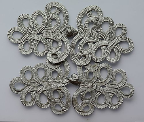 Lyracces Sewing Fasteners Braid Tree Knit Chinese Knot Closure Cheongsam Frog Buttons Extra Large 7in 1pair (Silver Tone)