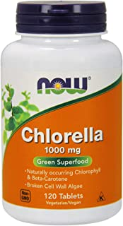 Now Supplements, Chlorella 1000 mg with Naturally Occurring Chlorophyll, Beta-Carotene, Mixed Carotenoids, Vitamin C, Iron and Protein, 120 Tablets