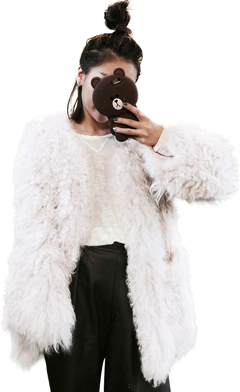 MINGCHUAN Real Lamb Fur Coat Women's Mid Long Jacket Overcoat Warm Outwear