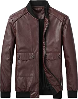 UUYUK Men's Casual Slim Faux Leather Full Zip Stand Collar Bomber Jacket