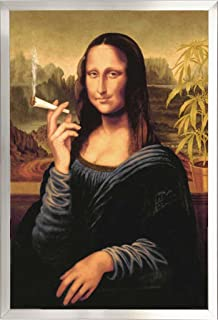 Framed Mona Lisa Smoking Joint 24x36 Poster in Brushed Nickel Finish Wood Frame