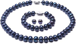 JYX Pearl Necklace Set 9-10mm Blue Freshwater Cultured Pearl Necklace Bracelet and Earrings Set
