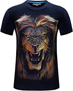 DADKA Men's Short Sleeve Hip-hop Printed Casual Short Large Size CrewNeck T-shirt Tops Blouse