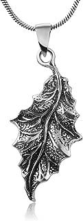 "Secret of the Wood Sterling Silver Detailed Oak Tree Leaf Pendant Necklace w/Snake Chain 18"""