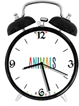 Animal Footprint Ornament Border Cute Paw Trace Cats and Dogs Friendly House Pets, Metal Double Bell Alarm Clock, Family Bedroom Travel School Battery Operation Light (Black) 4in