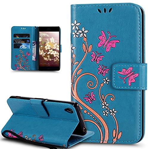 Coque Sony Xperia Z5,Etui Sony Xperia Z5,Peint coloré Embosser Papillon fleur Housse Cuir PU Etui Housse en Cuir Portefeuille de Protection Flip Case Portefeuille Etui Coque pour Sony Xperia Z5,Bleu