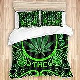 Yoyon Funda nórdica, Estampado de patrón 3D, Hoja de Marihuana Verde, Bandera de malezas, Ropa de Cama de Microfibra de Calidad, Ultra Suave, cómodo diseño Moderno