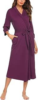Women Kimono Robes Cotton Lightweight Long Robe Knit Bathrobe Soft Sleepwear V-Neck Ladies Loungewear S-XXL