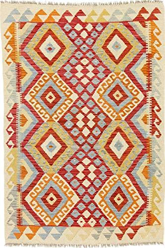 Nain Trading Kelim Afghan 148x99 Orientteppich Teppich Beige Handgewebt Afghanistan