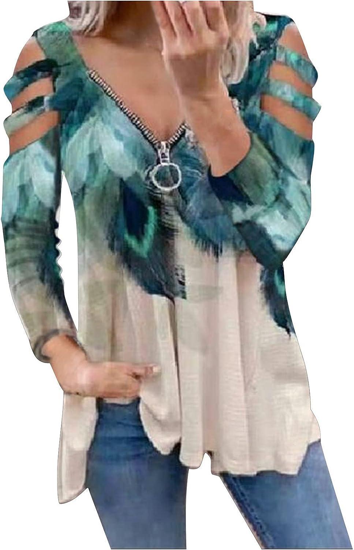 Womens Tops Sweatshirts for Women Plus Size,Women Zipper Front V Neck Long Sleeve Sweatshirt Cutout Cold Shoulder Tops
