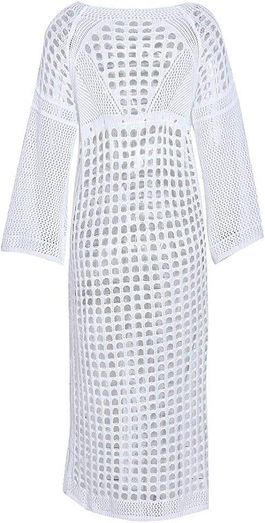 Digood Summer Swimsuit Cover Ups,Women Beach Long-Sleeved Holiday Dress Sunscreen Hollow Swimwear