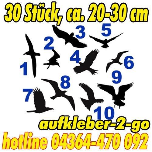 Warnvögel, Fensterschutz, 30 Stück, Vogel je ca. 20-30cm, Silhouette, Aufkleber, Farbe frei wählbar