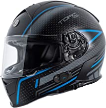TORC Unisex-Adult T14B Blinc Loaded Mako Full Face Motorcycle Helmet (Flat Black with Scramble Blue Graphic, Small)