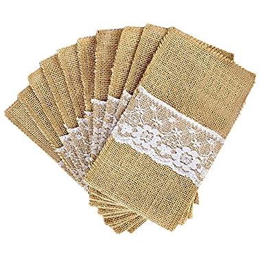 OurWarm® 100PCS 4 x8  Hessian Burlap Lace Wedding Cutlery Holder Pouch Rustic Decorations Favor
