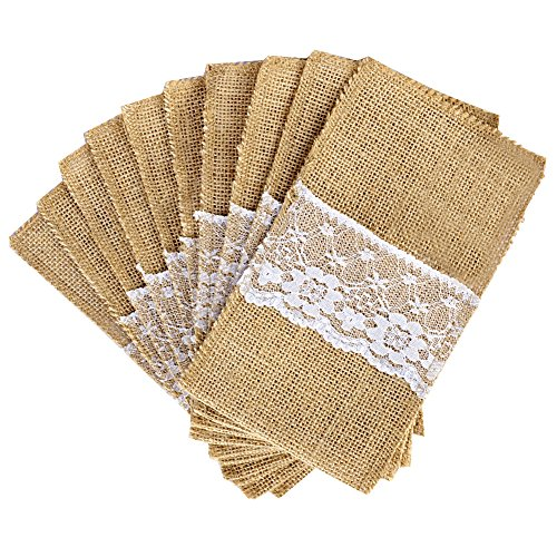 OurWarm 4 x 8 Inch Natural Burlap Lace Utensil Cutlery Holders Pouch Bags 50 Pack Knifes Forks Napkin Silverware Holder Bag for Rustic Wedding Party Bridal Shower Decorations